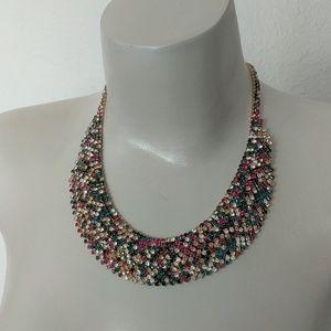 Jewel tone multicolor statement necklace